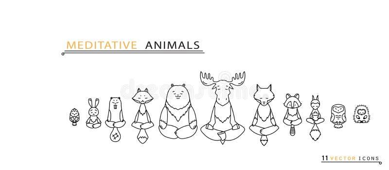 Meditative Animals - Thin line icons stock illustration