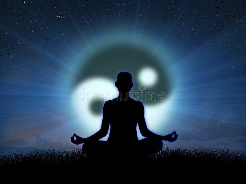 Meditazione al tramonto immagini stock libere da diritti