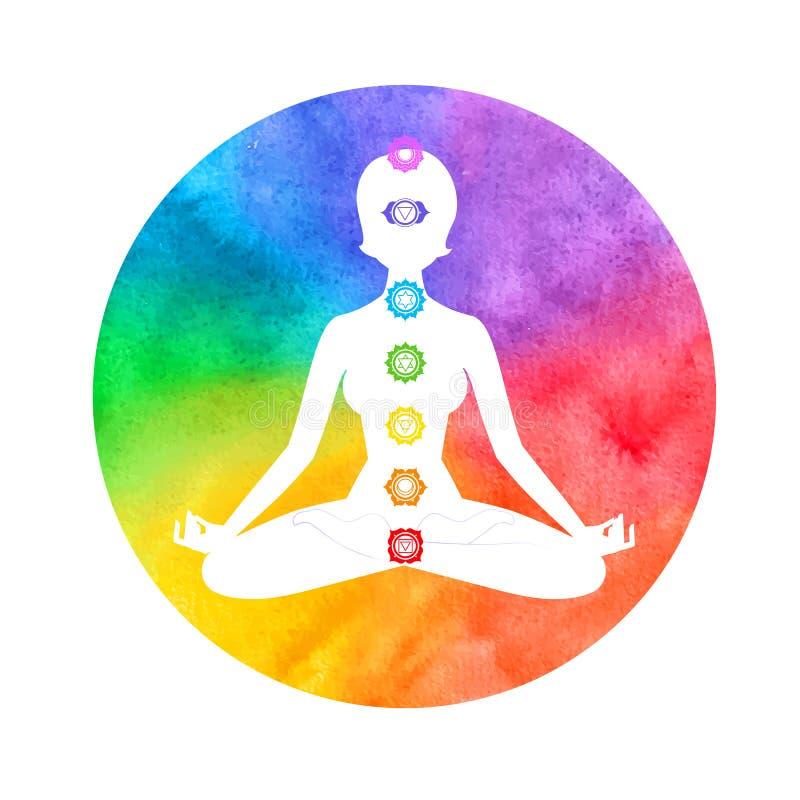 Meditazione, aura e chakras illustrazione di stock