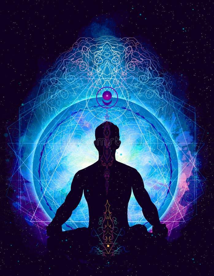 Meditazione cosmica dello spazio di yoga, royalty illustrazione gratis