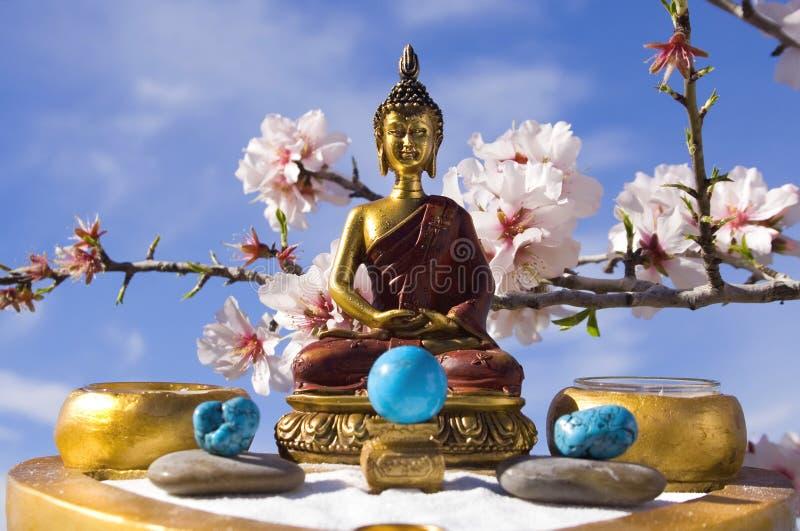Meditazione del giardino di zen del Buddha fotografie stock