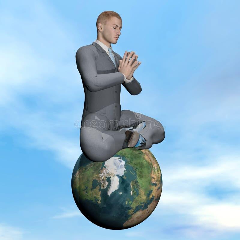 Meditazione dell'uomo d'affari - 3D rendono illustrazione vettoriale