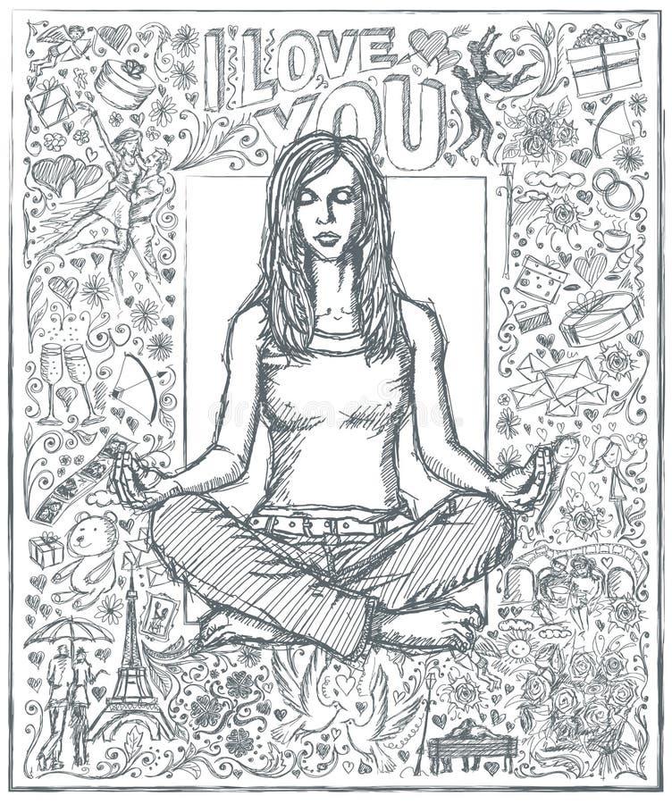 Meditazione della donna di schizzo in Lotus Pose Against Love Story Backgro illustrazione vettoriale