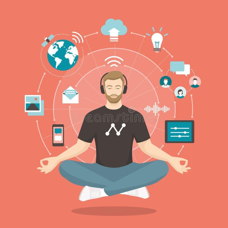 Meditazione di pratica del giovane illustrazione di stock