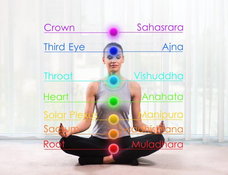 Meditazione di pratica della donna con i chakras segnati fotografia stock libera da diritti