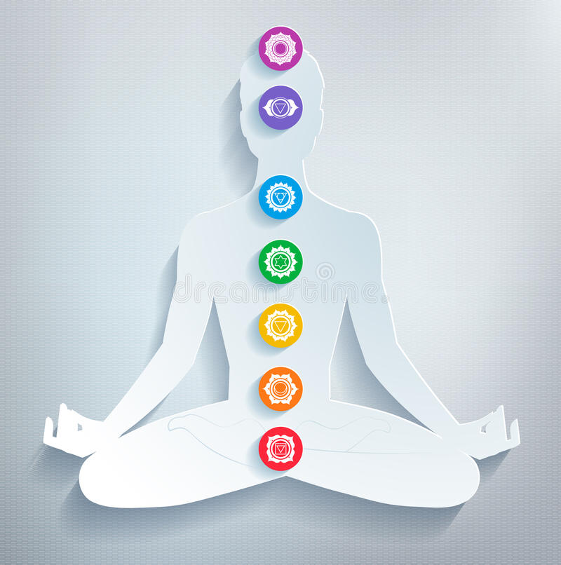 Meditazione e chakras royalty illustrazione gratis