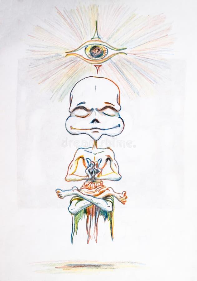 Meditazione e yoga Umorik ha raggiunto il chiarimento meditando Chakras d'apertura illustrazione di stock