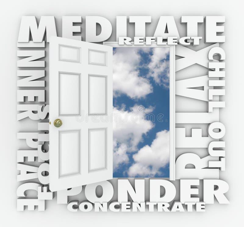 Meditera dörren för ordet 3d kopplar av inre fredreflexionskoncentration vektor illustrationer