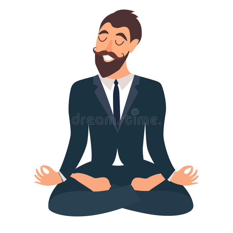 Meditera för affärsman Begrepp av den lugna affären, arbete på kontoret lycklig arbetare Affärsmannen i yoga poserar, lotusblomma vektor illustrationer