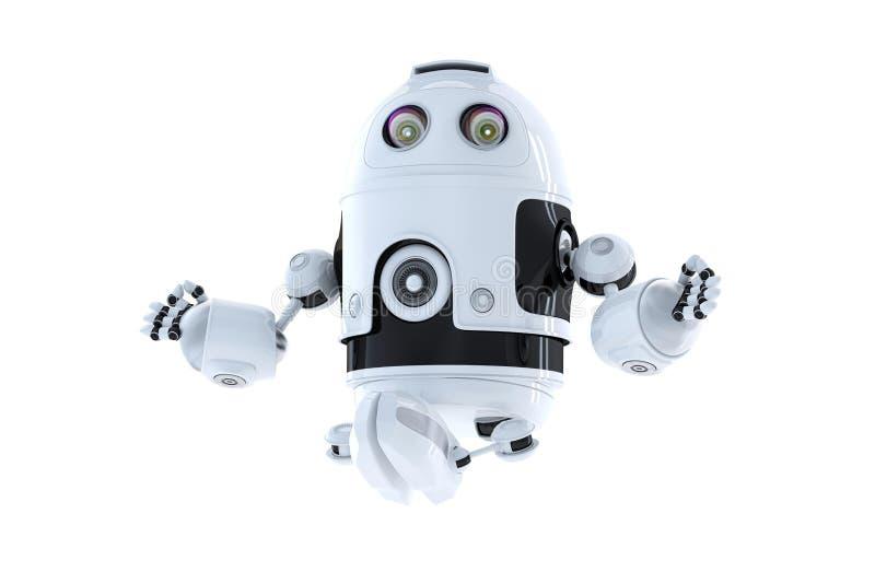 Meditera för androidrobot royaltyfri fotografi