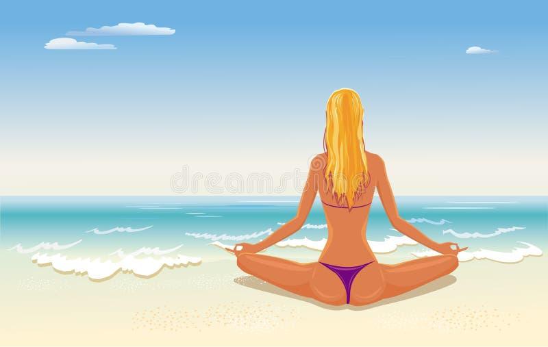 meditera för flicka royaltyfri illustrationer