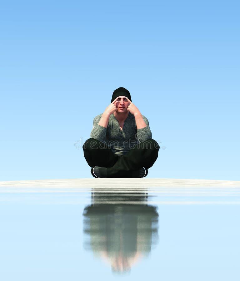 meditera för man stock illustrationer