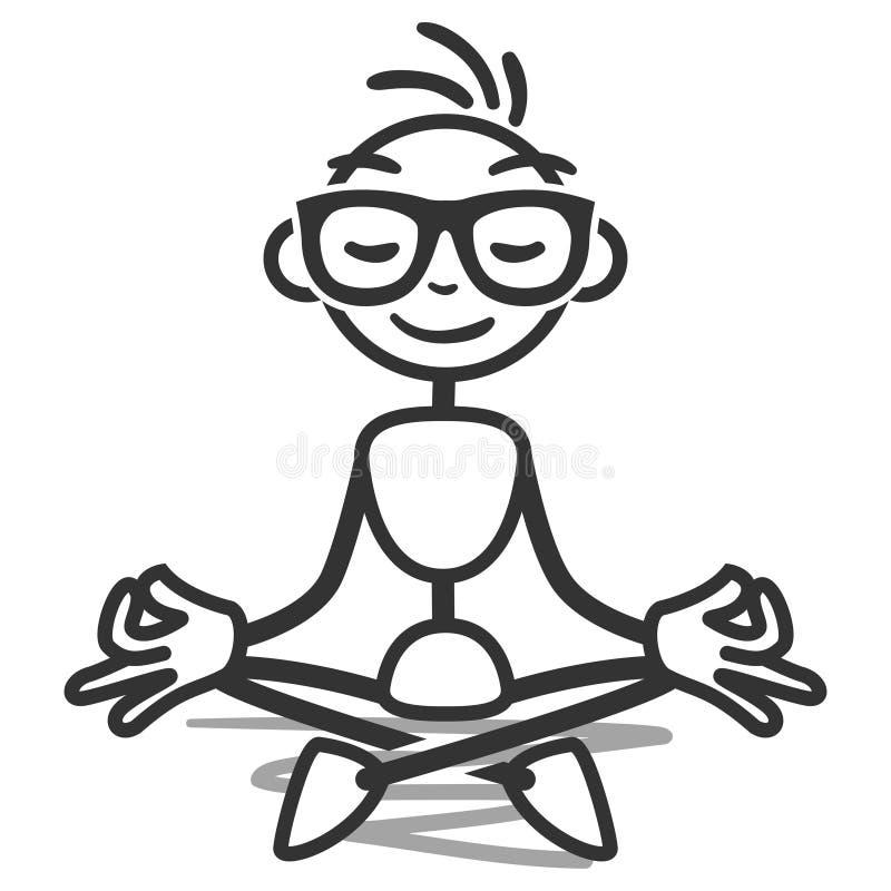 Meditera för Stickman yogalotusblomma royaltyfri illustrationer