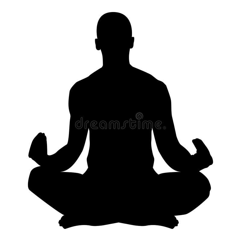 Meditera för yogasymbol för man bild för stil för praktiserande för symbol för svart för färg illustration för vektor plan vektor illustrationer