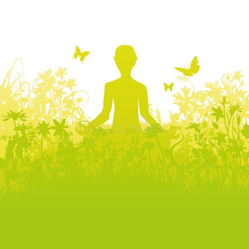 Meditera i tätt gräs royaltyfri illustrationer