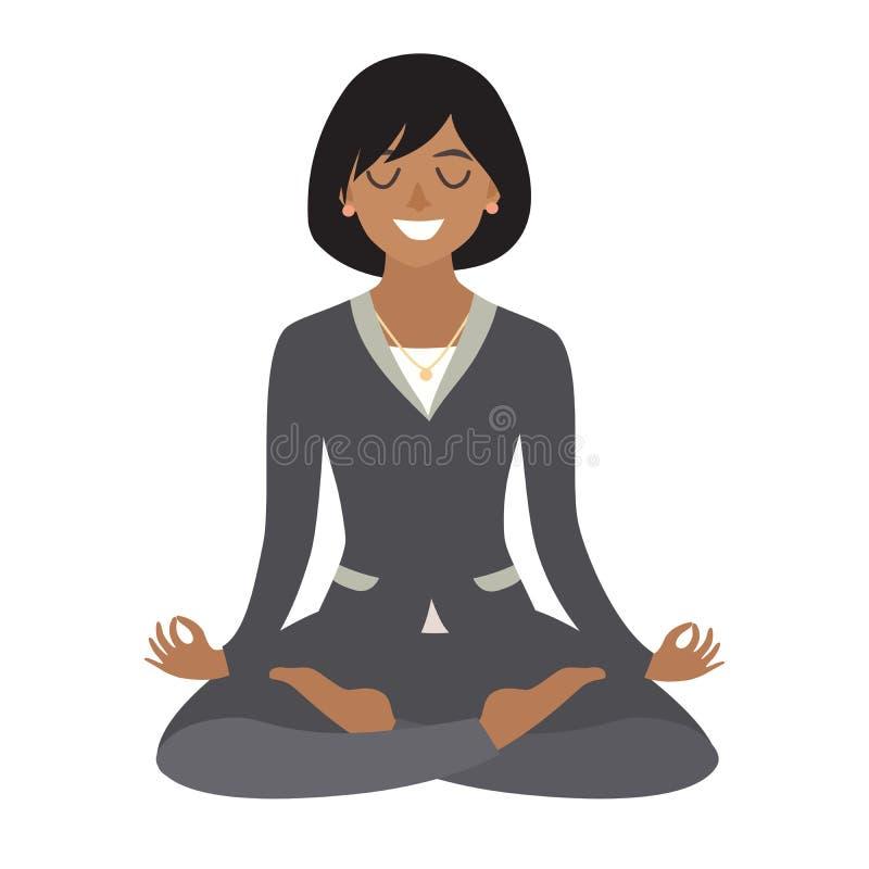 meditera kvinna för affär Begrepp av den lugna affären, arbete på kontoret Afrikansk amerikanaffärskvinnan i yoga poserar royaltyfri illustrationer