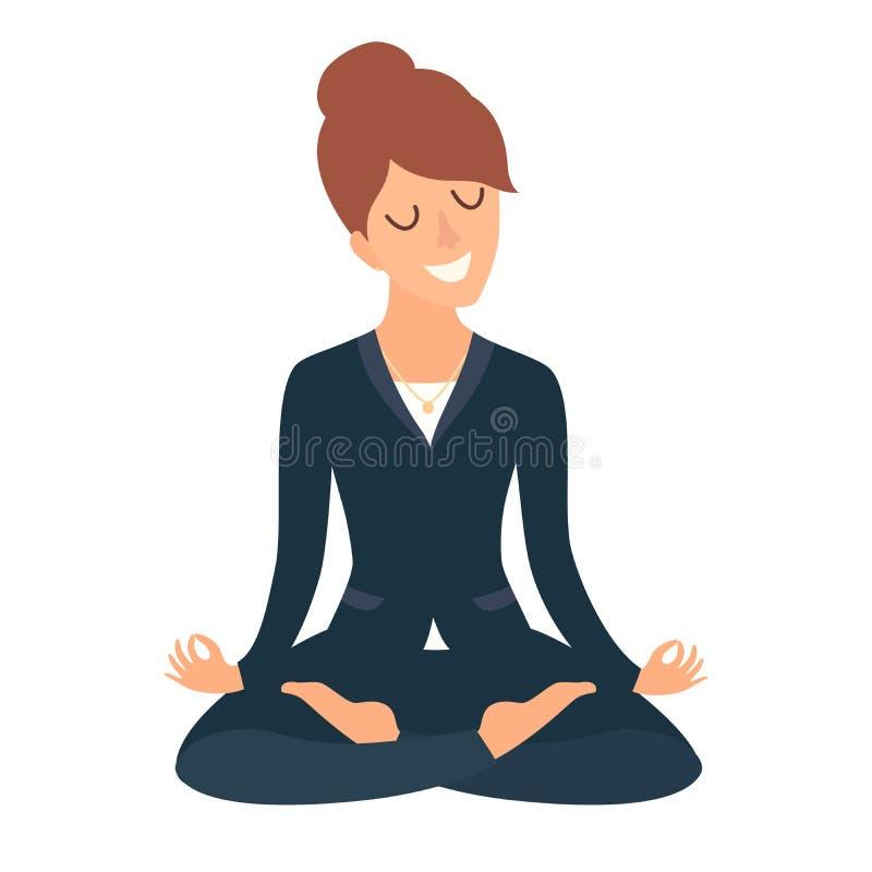 meditera kvinna för affär Begrepp av den lugna affären, arbete på kontoret lycklig arbetare Affärskvinnan i yoga poserar, lotusbl royaltyfri illustrationer