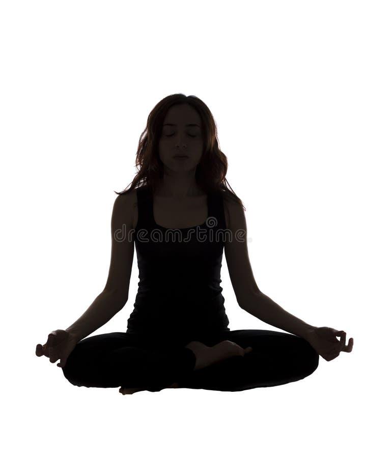 Meditera kvinnakonturn arkivfoto