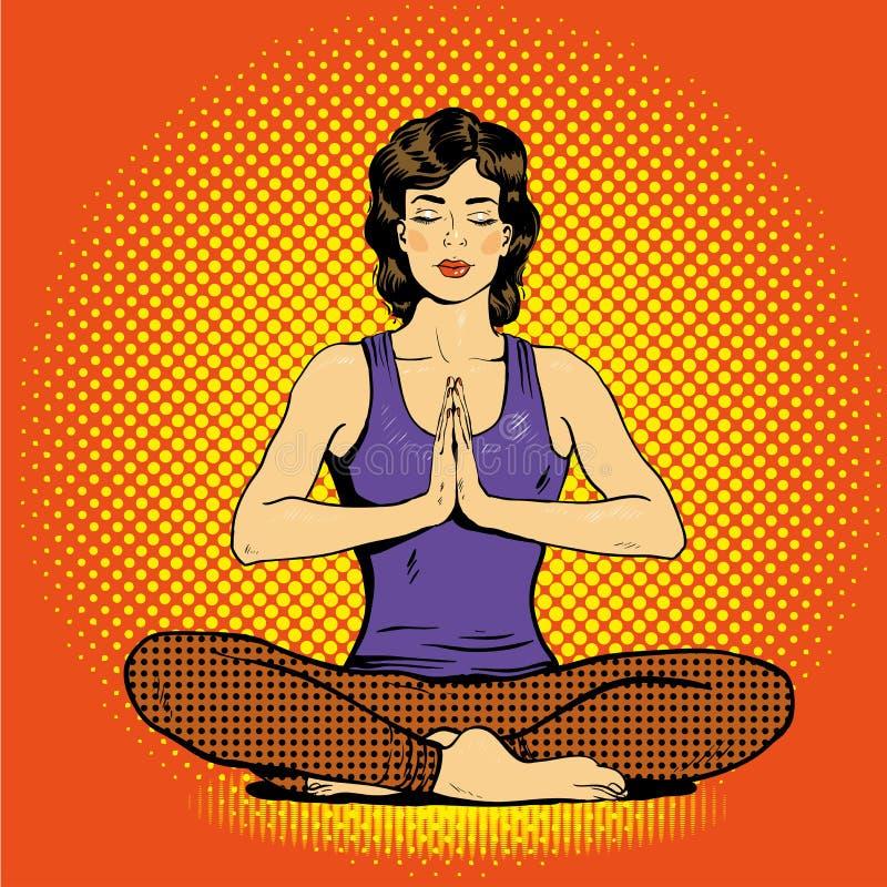 Meditera kvinnan med anförandebubblan i retro komisk stil för popkonst Begrepp för mental jämvikt och yoga royaltyfri illustrationer