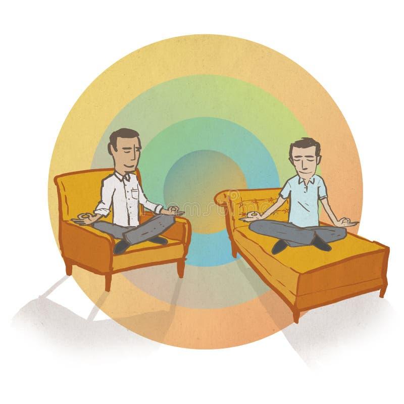 Meditera män med regnbågebakgrund vektor illustrationer