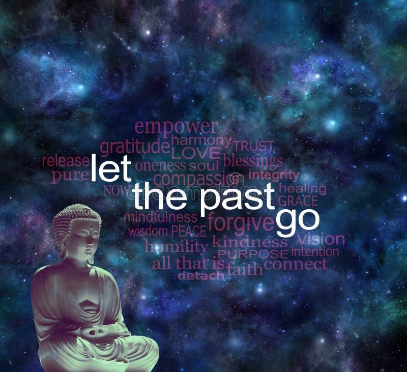 Meditera och låt forntiden gå ordmolnet royaltyfri illustrationer