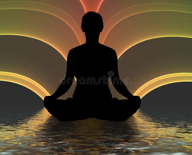 meditera silhouette royaltyfri illustrationer