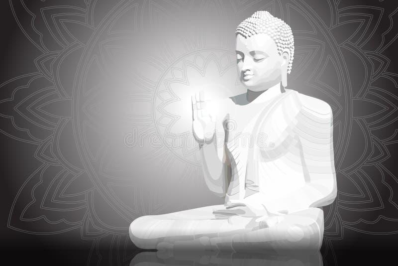 Meditera vit Buddhaställing på svart mandalabakgrund royaltyfri illustrationer