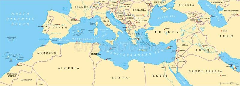 Mediterraan Bassin politieke kaart royalty-vrije illustratie