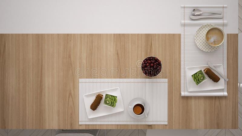 Mediterraan ontbijt, minimalistic witte keuken, hoogste mening stock afbeelding