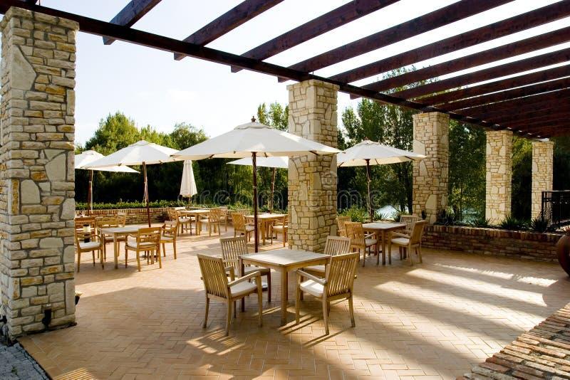 Mediterraan stemmingsrestaurant stock fotografie