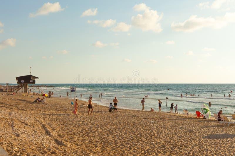 Mediterraan strand van Haifa, Israël royalty-vrije stock foto