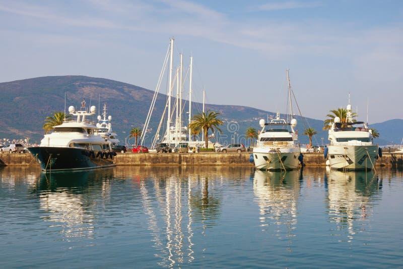Mediterrane haven, mening van jachtjachthaven van Porto Montenegro Montenegro, Baai van Kotor, Tivat-stad royalty-vrije stock foto's