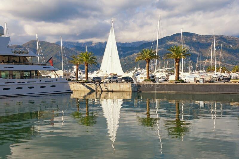 Mediterrane haven Montenegro, Baai van Kotor, Tivat-stad Mening van jachtjachthaven van Porto Montenegro stock fotografie