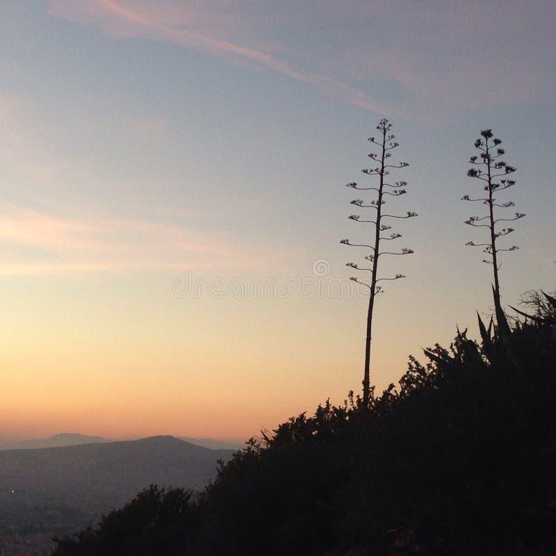 Mediterrane Hemelmening van Athene, Griekenland stock foto