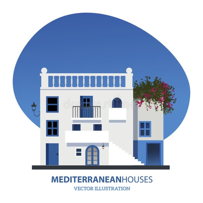 Mediterrane Huizen Vector illustratie stock illustratie