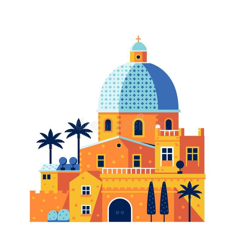Mediterrane Klassieke Kathedraal of Kerk stock illustratie