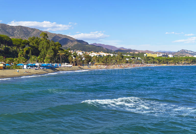 Mediterrane kust, Marbella, Spanje stock afbeeldingen