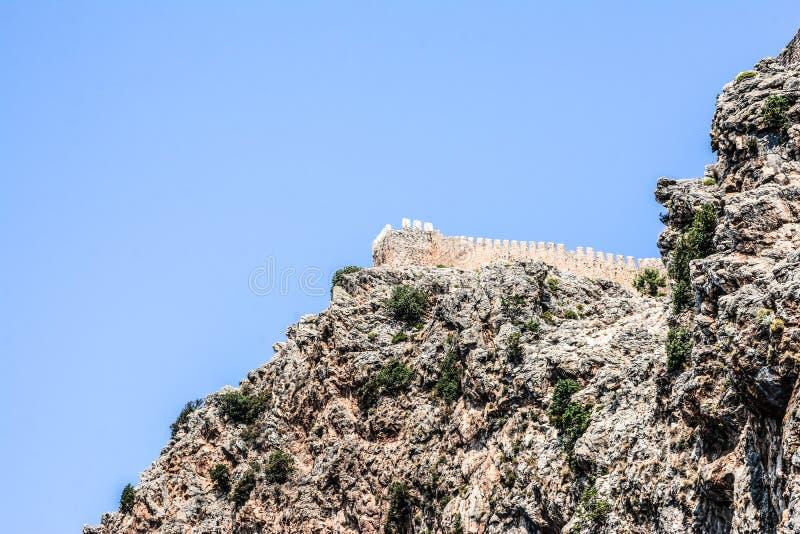 Mediterrane rotsen en oceaan in Turkije stock afbeelding