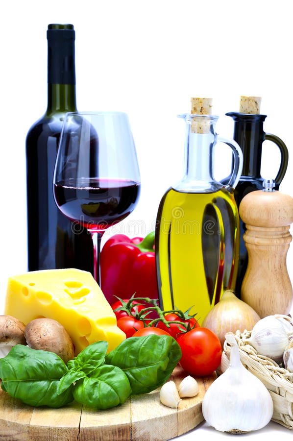 Mediterrane voedsel en wijn stock fotografie