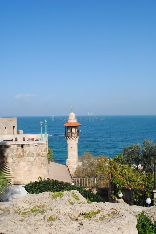 Mediterrane vuurtoren royalty-vrije stock afbeelding