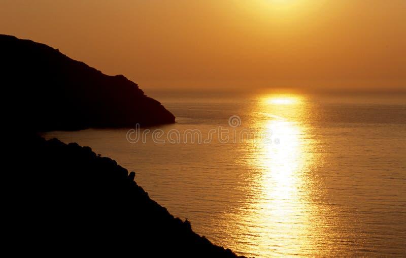 Mediterrane zonsondergang royalty-vrije stock fotografie