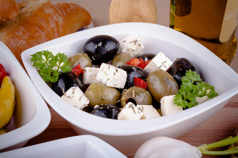 Mediterranean antipasti closeup royalty free stock image