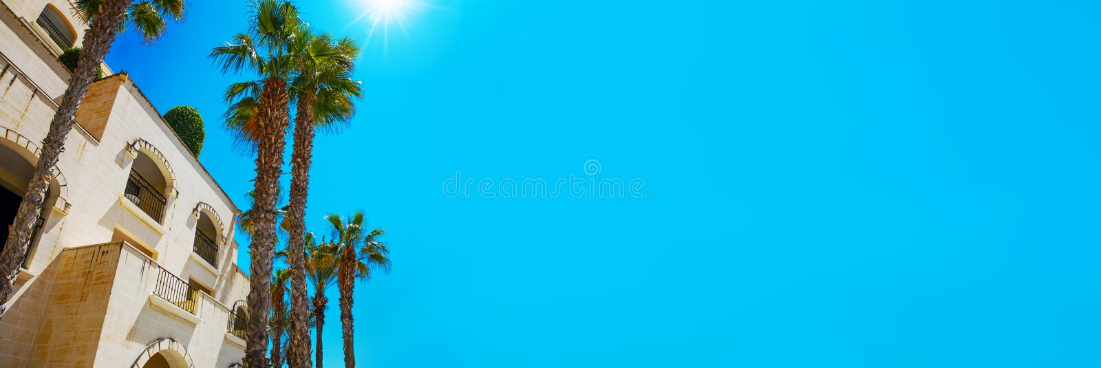 Mediterranean architecture with palm trees and blue sky template royalty free stock image