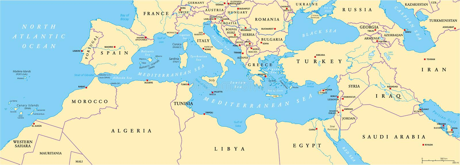 Mediterranean Basin Political Map. South Europe, North Africa and Near East with capitals, national borders, rivers and lakes. English labeling and scaling royalty free illustration