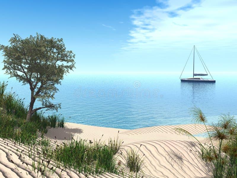 Mediterranean beach. 3d render of a typical mediterranean beach with a sailboat stock illustration