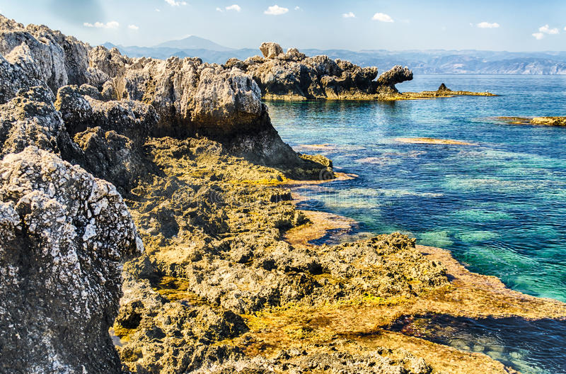 Mediterranean Beach in Milazzo, Sicily. Italy royalty free stock photo