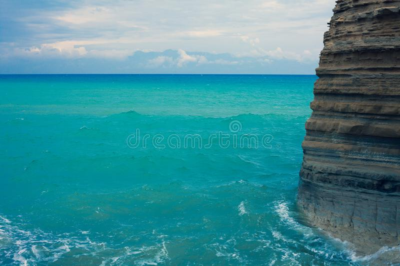 Mediterranean Beautiful Waves. Gorgeos and admirable Blue Ocean. Wonderful Scenic Sky. Cool Surfing Landscape. Amazing Color Shot stock photography