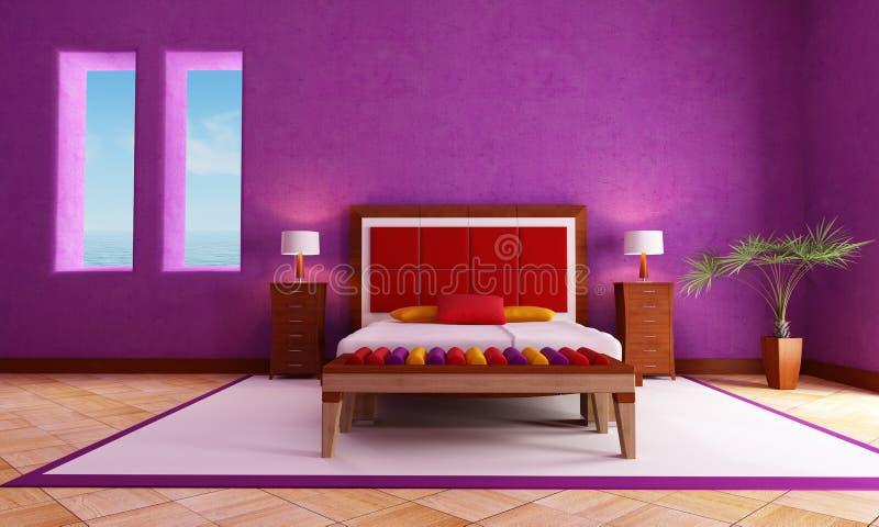 Mediterranean Bedroom. Rustic double bed in a mediterranean interior - rendering stock illustration