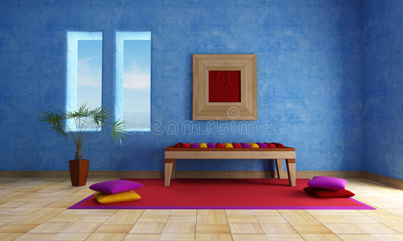Mediterranean blue living room. With ethnic bench carpet and cushion vector illustration