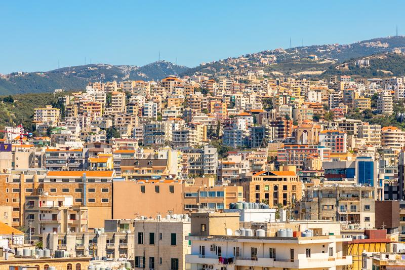 Mediterranean city downtown with lots of business and residential buildings in the background, Biblos, Lebanon royalty free stock image